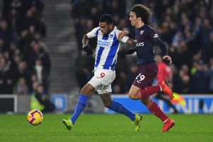 Jurgen Locadia scores against Arsenal earlier this season in the 1-1 draw at the Amex. Picture by PW Sporting Photography