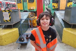 David Elston, 10, from Rustington, at the railway depot in Brighton