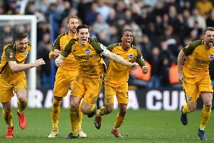 Brighton celebrate beating Millwall on penalties in the FA Cup quarter-finals. Picture by Getty Images