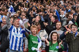 Brighton fans pictured at Arsenal. Picture by PW Sporting Photography