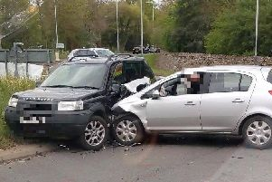 Emergency services were called to a crash involving three cars. Photo by Wellesbourne Fire Station.
