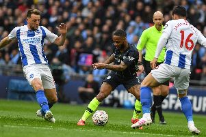 Action from Brighton's FA Cup semi-final defeat to Manchester City. Picture by PW Sporting Photography