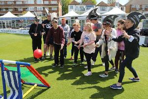 Participants and volunteers play on The 1st Central County Ground pitch at last years DIScoverABILITY Day (Credit: Sussex Cricket)