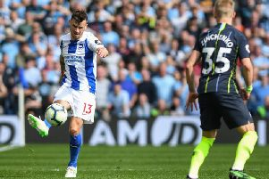 Pascal Gross in action against Manchester City. Picture by PW Sporting Photography