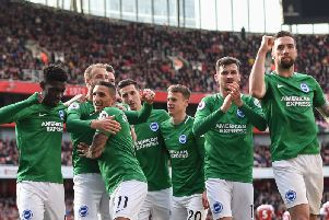 Brighton celebrate Glenn Murray's equaliser in the 1-1 draw at Arsenal. Picture by PW Sporting Photography