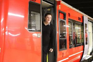 Gatwick Express driver Levi Harley arrives with a smile at London Victoria