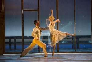 Northern Ballet's production of The Great Gatsby is at Mayflower Theatre in Southampton, May 2019. Picture shows Tobias Batley as Jay Gatsby and  Martha Leebolt as Daisy Buchanan. Picture by Bill Cooper.