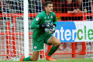 New Dover Athletic goalkeeper Yusuf Mersin in action for Crawley Town. Picture by Steve Robards