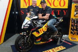 John McGuinness with Milenco by Padgett's Honda team boss Clive Padgett.
