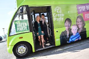 Alexandra Phillips, mayor of Brighton and Hove with Green MP Caroline Lucas (photo by BEN STANSALL/AFP/Getty Images)