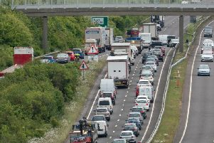 The A27 is currently blocked due to an accident. Picture: Eddie Mitchell