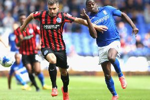 Aaron Hughes in action for Brighton against Birmingham. Picture by Getty Images