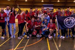 Hastings Predators celebrate their victory at the UK Floorball Federation National Finals. Picture courtesy Derek Young Photography