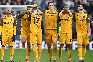 LONDON, ENGLAND - MARCH 17: Jose Izquierdo, Shane Duffy, Glenn Murray, Lewis Dunk, Bernardo and Dale Stephens of Brighton & Hove Albion can barely look during the penalty shoot out during the FA Cup Quarter Final match between Millwall and Brighton and Hove Albion at The Den on March 17, 2019 in London, England. (Photo by Mike Hewitt/Getty Images)