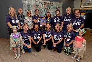 Paddy Danagher, Streets Alive co-ordinator, and the Mayor, Councillor Michaela Boyle pictured launching the programme of events for the Gasyard Feile 2019 at the Gasyard Centre yesterday afternoon. Included in the picture are Councillor Tina Burke, Feile sponsors, and representatives of participating groups. The 27th annual Feile will run from 7th-17th August.  DER2919GS-034