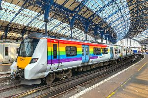 Pride Thameslink train at Brighton. Picture: Matthew Wilmhurst, GTR