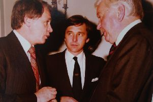 Bobby Robson, Olaf Dixon and John Camkin at the Club of the Year Award in 1985.