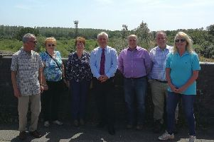 John Bercow (centre) with Calvert Green residents on a recent trip to see how HS2 will affect the area