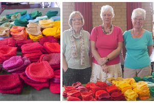Biggleswade WI's knitted hats.