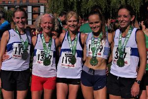 Leamington C&AC's Megan Rothman, Monica Williams, Jenny Jeeves, Natalie Bhangal and Kelly Edwards at Stratford's Big 10k. Picture: Les Barnett