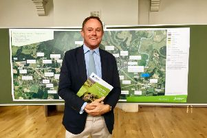 MP Nick Herbert at the launch of the public consultation of the Arundel Bypass, where six new routes have been proposed