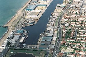 An aerial shot of Shoreham Harbour. SUS-170711-164159001