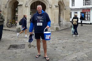 Tim Austin in his flip flops at Chichester Cross