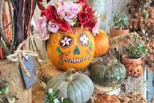 Part of the Hallowe'en display at Linden Tree Flowers in Southwick Square