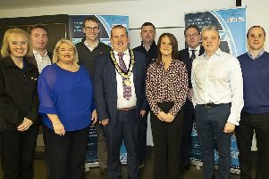 Pictured ahead of the launch of MEGA (Manufacturing & Engineering Groiwth & Advancement) Event are from Left to Right: Roisin McCabe (Specdrum), Shane Nugent (Nugent Engineering), Ciara Kilpatrick (InvestNI), Leigh Falls (Nugents), Clement Cuthbertson (MUDC), Dominic Young (Steelweld), Maria Curran (MEGA Project Director), Alan McKeown (Chair Mid Ulster Skills Forum), Darragh Cullen (Edge Innovate), Colm McGrath (Northern Hydraulics), Sinead Gaynor (Mallaghans), Paul McCreedy (MUDC), Clodagh McGovern (Mallaghans).