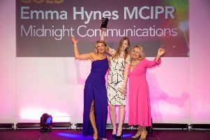 Emma Haynes accepting her award earlier this month, Peter Travers Photography