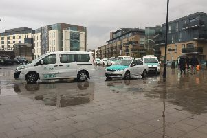 Taxis queuing at the relocated Brighton Station taxi rank at Stroudley Road.