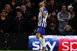 Brighton and Hove Albion striker Neal Maupay celebrates after his goal against Wolves