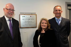 Pictured at the official opening of the hydrotherapy pool at Roddensval School are Gavin Boyd, Education Authority Chief Executive, Ms Sharon O`Connor, Education Authority Chairperson and John Madden, school principal. INLT 11-001-PSB