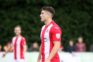 Adam Walker hit Brackley Town's second goal at Curzon Ashton