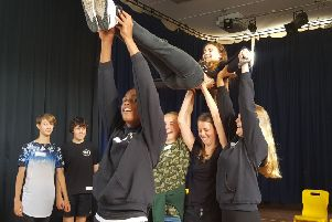 Students from the Buckingham School and the Royal Latin School came together to work on a piece titled Community