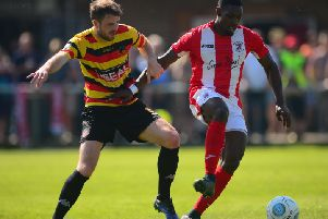 Brackley Town's Lee Ndlovu bagged his seventh goal of the campaign against Hereford