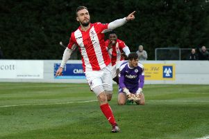 Shane Byrne celebrates after putting Brackley Town back in front against Chester. Photo: Steve Prouse