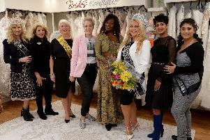 The opening of Brides Boutique in Buckingham - pictured in the pink jacket is proprietor Kay Poole with deputy mayoress Alexandra Cole second from left