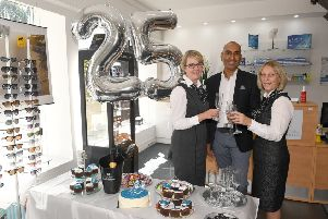 Lunettes Opticians, Sleaford, celebrating their 25th anniversary two years ago. From left - Louise McCarrick, Tushar Majithia - owner,and  Janet Ratcliffe. EMN-191203-141820001