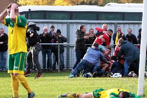 These were the dramatic scenes at Barwell in 2015 when Liam Dolman's last-gasp goal earned AFC Rushden & Diamonds an FA Cup fourth qualifying round replay. They go back there in the league this weekend, looking to maintain their push for a play-off place
