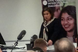 "Mary Lou McDonald, president of Sinn Fein, speaks at a civic unionist event at the Peter Froggatt at Queen's University, Belfast in February. ""She was listened to with respect and courtesy when urging unionists to engage with republicans, yet later chose to walk with an offensive banner in New York"""