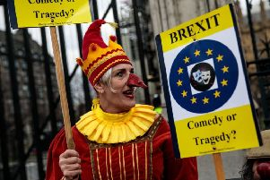 Brexit protesters demonstrate outside the Houses of Parliament (Photo by Jack Taylor/Getty Images) SUS-190328-124559001