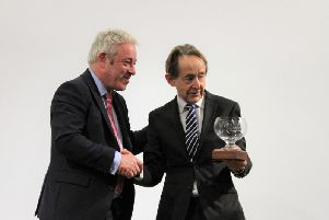 The Speaker of the House of Commons John Bercow with the University of Buckingham's vice-chancellor Sir Anthony Seldon