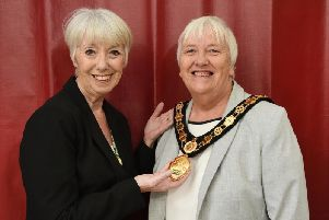 Councillor Lesley Bowles welcomes new chairman Barbara Johnson. PICTURE: ANDREW CARPENTER