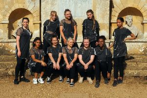 City of Oxford College students pose for the camera outside the Temple of Worthies as part of their interpretative dance piece