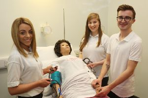 Year 3 Adult nursing students l-r Kerrie Davidson, Brittanny McArthur and Adam Dickson (Photo: Lorcan Doherty Photography)