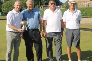The winning Tealby team of G. Thornally, U. Reid and D. Heath with John Broddle (second left). Picture: Wes Allison EMN-190715-164039002