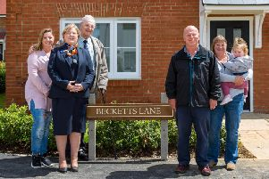 The unveiling of Becketts Lane in Steeple Claydon