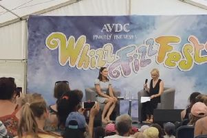 An archive image of Dame Jessica Ennis-Hill speaking at Aylesbury WhizzFizzFest - one of the events featured in the tourism promotional film