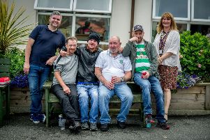 Paddy Downey from The House in the Wells and Deirdre Walker from Apex Housing are pictured with residents at the annual BBQ and fun day